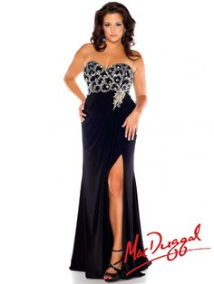Black and Silver Plus Size Prom Dress   Mac Duggal 76502F