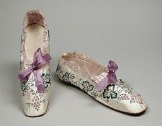 Embroidered satin boudoir slippers, American, 1849. LACMA. These were worn in the days after the owner was married.