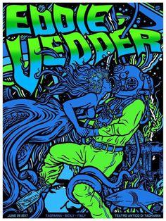 Eddie Vedder Gig poster Artwork by Ames Bros Special guest Glen Hansard June 2017 Teatro Antico, Taormina, Italia Tour Posters, Band Posters, Music Posters, Pearl Jam Posters, Unique Poster, Eddie Vedder, Silk Screen Printing, Concert Posters, Rock Art