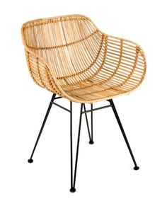 The Metal and Natural Rattan Armchair has a modern style with breeze that fills your space. Material: Metal and wicker. Dinning Chairs, Outdoor Chairs, Outdoor Spaces, Dining Table, Chaise Restaurant, Bucket Chairs, Chair Price, Cafe Tables, Chair Fabric
