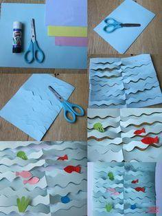 """Décidément la mer, les poissons, les méduses nous inspirent beaucoup en ce moment! Au cours de notre dernier atelier créatif, nous avons décidé de recréer la mer en 3D, en 3 dimensions par un """"savant"""" jeu de découpage et de collage. Un peu de papier coloré, des ciseaux, de la colle, et c'est parti! Matériel nécessaire pour un collage marin en 3D Il vous faudra très peu de matériel : une paire de ciseaux du papier épais bleu et du papier coloré (à recycler, ma..."""