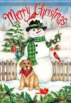Snowman & Dog Christmas Garden Flag Snow Birds Cardinal Puppy Winter x Christmas Garden Flag, Christmas Snowman, Christmas Holidays, Christmas Crafts, Merry Christmas, Christmas Stuff, Christmas Stockings, Holly Berries, Flag Decor