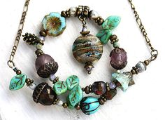 Woodland necklace rustic Green Brown handmade by MayaHoneyJewelry, $32.00  Coupon Code for 10% discount - PIN10MH