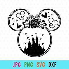 Disney Castle Silhouette, Silhouette Cameo Disney, Mickey Silhouette, Silhouette Studio, Disney Decals, Disney Stencils, Disney World Shirts, Disney Diy Shirts, Disney Birthday Shirt