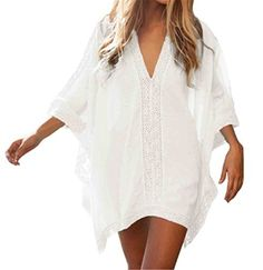 Fanessy Damen Sommerkleider Strandkleid Sexy V-Ausschnitt Lose Beachwear Frauen Oberteile Sonnenschutz Strandtunika