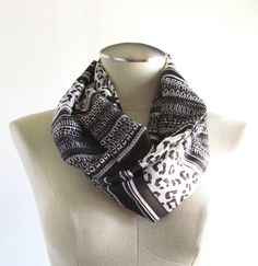 Black Leopard Infinity Scarf  Black and White Scarf by EyeCandy395, $20.00