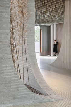 Image 18 of 37 from gallery of WuliEpoch Culture Center / Atelier Alter Architects. Photograph by Highlite Images Contemporary Architecture, Architecture Details, House Architecture, Landscape Architecture, Wall Scenery, Recycled Concrete, Masonry Wall, Curved Walls, Ceiling Detail