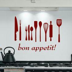 Bon Appetit cocina pared arte diciendo vinilo por saltyseatreasures, $18.00