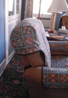 make an ugly lazy boy look pretty recliner slipcover. Black Bedroom Furniture Sets. Home Design Ideas