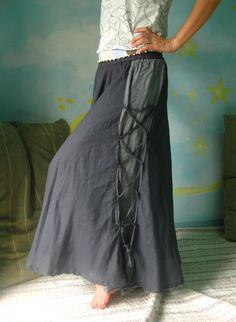 Summer Is All Around...Full Circle Long Skirt Hand-Dyed In Dark Charcoal. $43.00, via Etsy.
