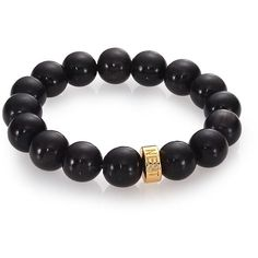 Nest Black Horn Beaded Stretch Bracelet (2,450 THB) ❤ liked on Polyvore featuring jewelry, bracelets, apparel & accessories, elastic bead bracelet, african beaded jewelry, beaded stretch bracelet, beaded jewelry and african jewelry
