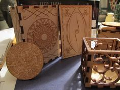 Several laser cut boxes and a 2 inch diameter calendar stone all cut for my mom.
