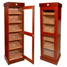 Cabinet Cigar Humidor Vitrina is handcrafted with exotic Bubinga Rose wood and Spanish cedar, holds 3000 cigars and features a revolutionary sealing mechanism - CUBAN CRAFTERS Good Cigars, Cigars And Whiskey, Cuban Crafters, Cigar Humidor Cabinet, Tall Cabinet Storage, Locker Storage, Vinyl Storage, Whiskey Dispenser, Cigar Room