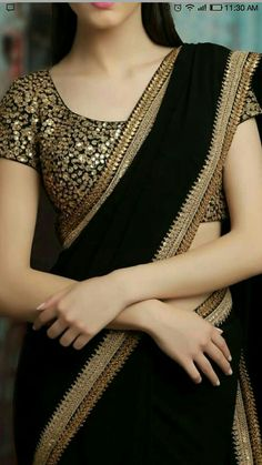 Need to know about quality Elegant Designer Indian Sari kind of like Elegant Design Saree and Blouse if so then CLICK VISIT link above to read Saree Blouse Patterns, Saree Blouse Designs, Black Saree Designs, Kurta Designs, Indian Attire, Indian Outfits, Saris Indios, Moda Indiana, Indian Designer Wear