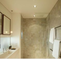 Love the Zellige Emery tiles in white For loft bathroom, combine with white painted wooden floor.