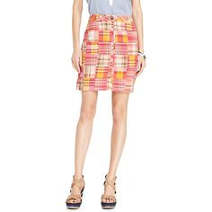 Tommy Hilfiger women's skirt. Our mini gets a beachy makeover in sherbet patchwork (so flattering against sun-kissed skin). Washed for softness with (surprise) cargo pockets at the back. • Classic fit.• 100% cotton.• Button and zip closure, front and back pockets.• Machine washable.• Imported.