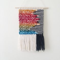 Rainbow Geometric Weaving Woven Wall Hanging by UnrulyEdges