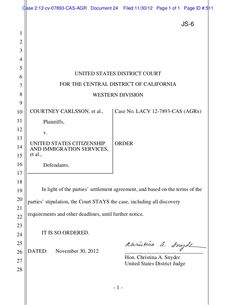 carlsson-case-is-stayed-due-to-settlement-11-3012 by Joseph  Whalen via Slideshare