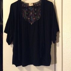 LA Hearts Black cardigan Super cute detail on the back, bought it awhile ago I just never worn it. Would love to see it be put to use, it's just been hanging in my closet. Make offer! LA Hearts Sweaters Shrugs & Ponchos