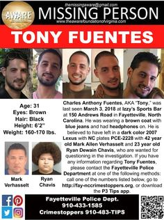 Find Missing Charles Anthony Fuentes!He is better known as Tony.He has been missing for almost four months. Where Are You Now, Amber Alert, Missing Persons, Kids Poster, Looking For Someone, Helping Others, Brown Hair, Warriors, Sad