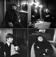 The Beatles relax backstage in East Ham, London (1963)