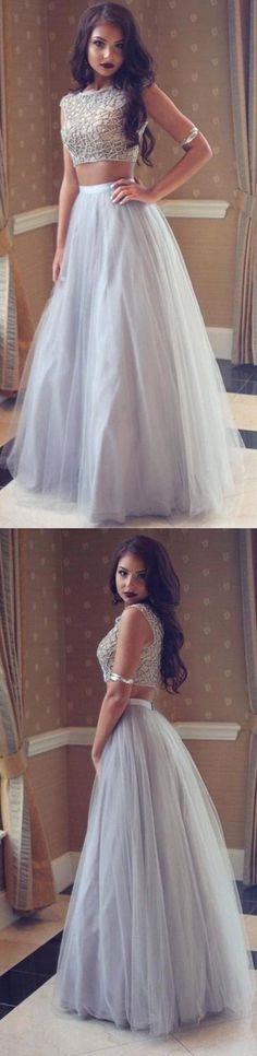 Ombreprom Silver Beaded Two Pieces Long A-line Tulle Prom Dresses Long Evening Dresses (OB700)