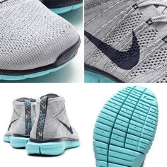 Nike Free Flyknit Chukka - Wolf Grey - Midnight Navy - Light Aqua