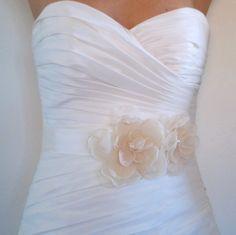 Wedding Sash JOSIE DUO  Two Light Ivory Flowers on by BridalShoppe, $86.00