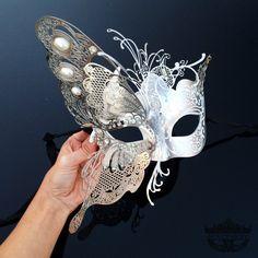 Masquerade Mask Elegant Butterfly Mask Masquerade by Couples Masquerade Masks, Venetian Masquerade Masks, Masquerade Costumes, Masquerade Party, White Masquerade Mask, Masquerade Ball Decorations, Carnival Decorations, Masquarade Mask, The Mask Costume