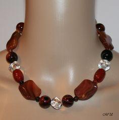 Colliers - Halskette-Carneol-Achat Halbedelstein  - ein Designerstück von MartinDesign bei DaWanda
