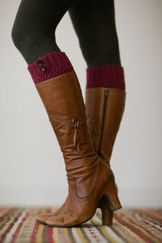 Maroon Knitted Boot Cuffs, Faux Leg Warmers, or Boot Toppers with Chunky Knit and Wooden Working Buttons for Women and Teens in Cranberry on Etsy, $28.00