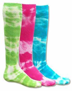 Neon Tie Dye Knee High Tube Socks in 3 Bright Color Choices Softball Socks, Girls Softball, Tie Dye Socks, Mud Run, Tube Socks, Colorful Socks, Knee High Socks, Boot Socks, My Girl