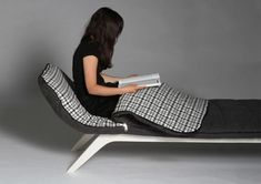 Couch Sleeper by Anne Lorenz. A chaise with a sleeping bag all rolled into one!    Read more at Design Milk: http://design-milk.com/12-seats-for-maximum-relaxation/#ixzz22DIl9bMH