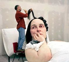 Ron Mueck...saw his work before in person....and it great....kinda freaky because they look so real!!