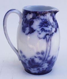 "Antique Royal Doulton England Norbury Poppy Floral Pattern Flow Blue 8"" Pitcher"