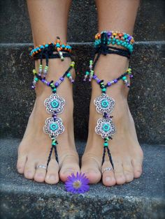 NEON Black Flower BAREFOOT SANDALS soleless sandals beach Wedding Rainbow dance jewelry Toe Thongs foot jewelry bohemian shoes unique GPyoga