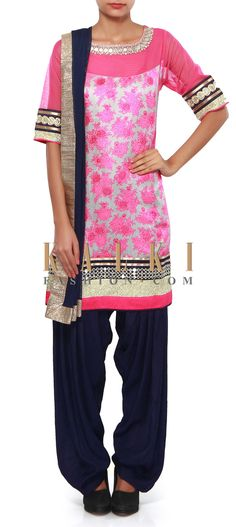 Buy Online from the link below. We ship worldwide (Free Shipping over US$100). Product SKU - 272433.Product Link - http://www.kalkifashion.com/pink-printed-suit-adorn-in-mirror-embroidery-only-on-kalki.html