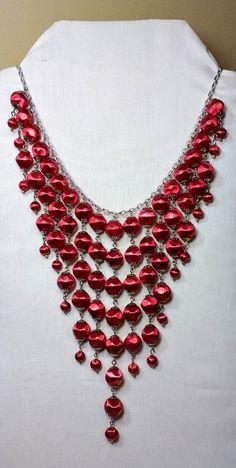 Bright red beaded Bib Necklace.