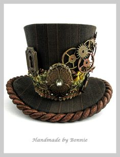 Steampunk Mini Top Hat Copper and Brown by BonnieMadeDesigns, $70.00 #steamPUNK ☮k☮