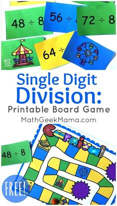 Looking for a quick and easy way to practice division facts? This fun single digit division game is low prep and can be played again and again to help kids master their math facts. Easy Math Games, Printable Math Games, Fun Math, Free Math Games, Quick Games, Kids Math, Abc Games, Math Help, Number Games