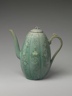 Wine Ewer with Chrysanthemums and Lotus Flowers | Goryeo dynasty, 1st half of 13th century | Korea | Stoneware with inlaid decoration (etched motifs) under celadon glaze