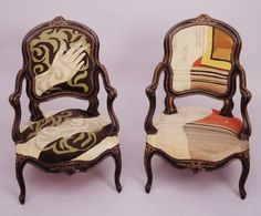 [Two classically styled children's armchairs upholstered with petit point sewn by Alice B. Toklas over designs by Pablo Picasso]