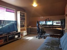 In addition to an impressive GAME ROOM loaded with an outstanding array of video. In addition to an impressive GAME ROOM loaded with an outstanding array of video and prize games, w Home Office Setup, Home Office Design, House Design, Game Room Design, Playroom Design, Inside A House, Game Room Basement, Bedroom Setup, Video Game Rooms