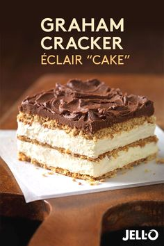 This Graham Cracker Éclair recipe makes dessert a piece of cake! Just start with JELL-O Vanilla Flavor Instant Pudding, add milk and whisk. Then add COOL WHIP Whipped Topping and mix again. Pour over a delicious bed of crunchy graham cracker squares, lay 13 Desserts, Dessert Recipes, Baking Recipes, Quick Dessert, French Desserts, Layered Pudding Desserts, Desserts With Cool Whip, Vanilla Pudding Desserts, Dessert Simple