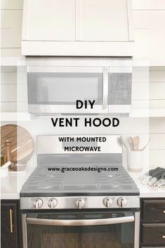 vent hood with mounted microwave Over The Stove Microwave, Mounted Microwave, Microwave Cabinet, Microwave In Kitchen, Kitchen Redo, Kitchen Dining, Kitchen Remodel, Above Range Microwave, Microwave Vent Hood