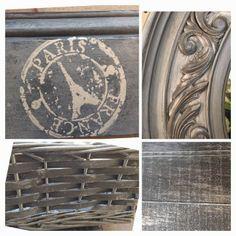 Paris Stamp Stencil from Artisan Enhancements, zinc look created using Pearl Plaster www.homeroad.net