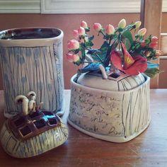 New small #flower bricks with lids #pottery #ceramics #handmade #weeflowers #weepots