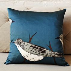 West Elm by Gemma Orkin Blue Birds Silk 16in Square Pillow Cover (Insert Sold Separately), $34 via WestElm.Com