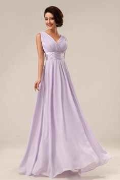 Hot Double-Shoulder V-neck Simple Solid Long Evening Dress Chiffon