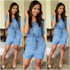 133 best DENIM images on Pinterest   Denim jeans  Denim outfits and     Soft Denim Romper    34 99  FashionNova  Denim